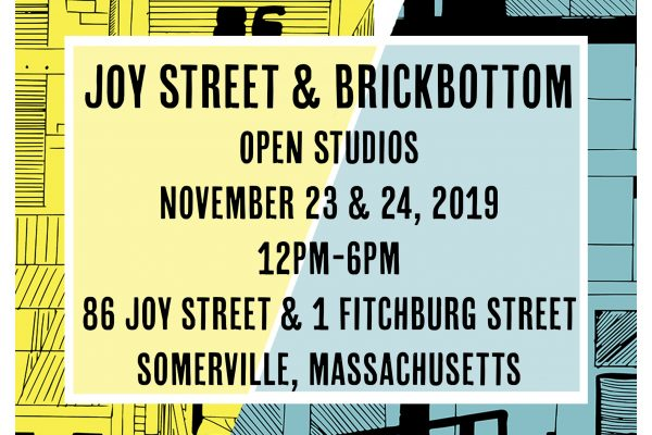 Brickbottom & Joy Street Open Studios promo postcard with dates and addresses