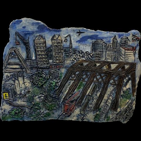Building the Zakim Bridge by Charlotte Kaplan   •   glazed clay   •   $700