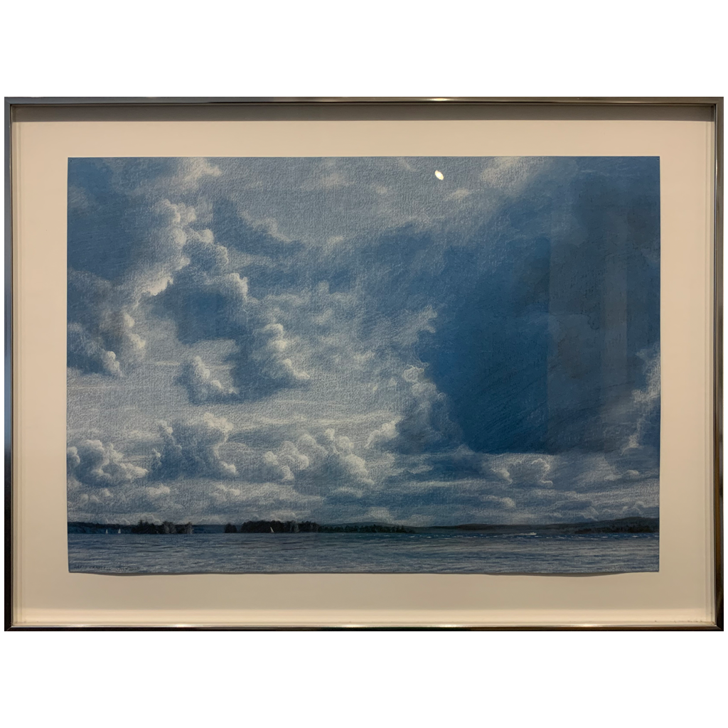 David Campbell   -   Summer Clouds Over the Lake   -   B&W Conté on blue paper   -   $1500.