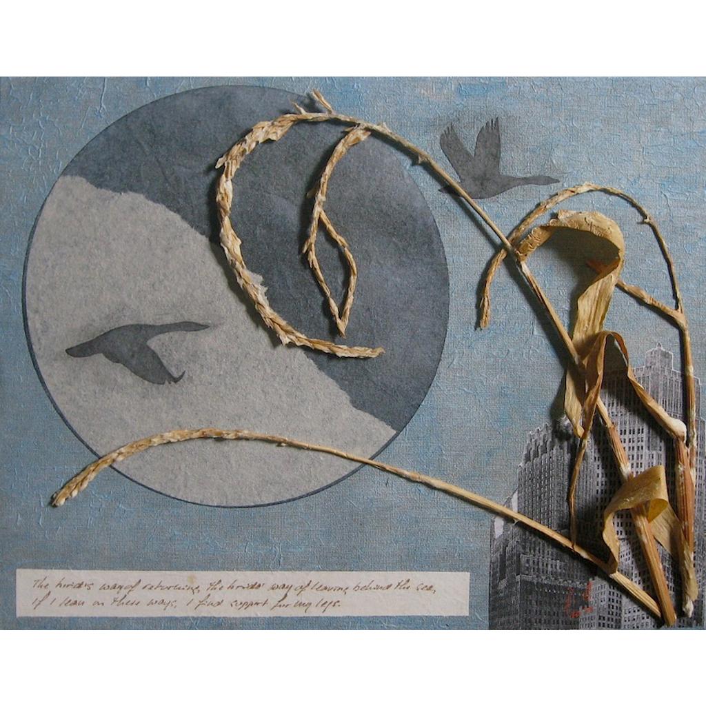 Jen Fries   -   Estuary Moon   -   collage, mixed media   -   $500