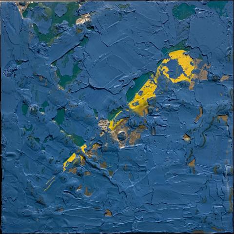 E. Goodnow   -   Graffiti-Naples, Italy   -   oil, wax, silver leaf   -   $225