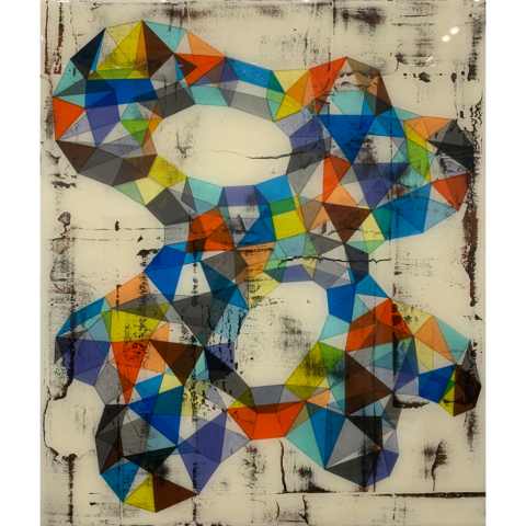 Jerry Lainoff   -   GA#70   -   polymer resin, mixed media, acrylic on wood   -   $3000