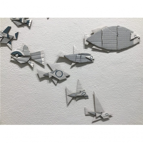Pier Gustafson  -  Evolution of Fish (installation detail)  -  cardboard  -  $1,000