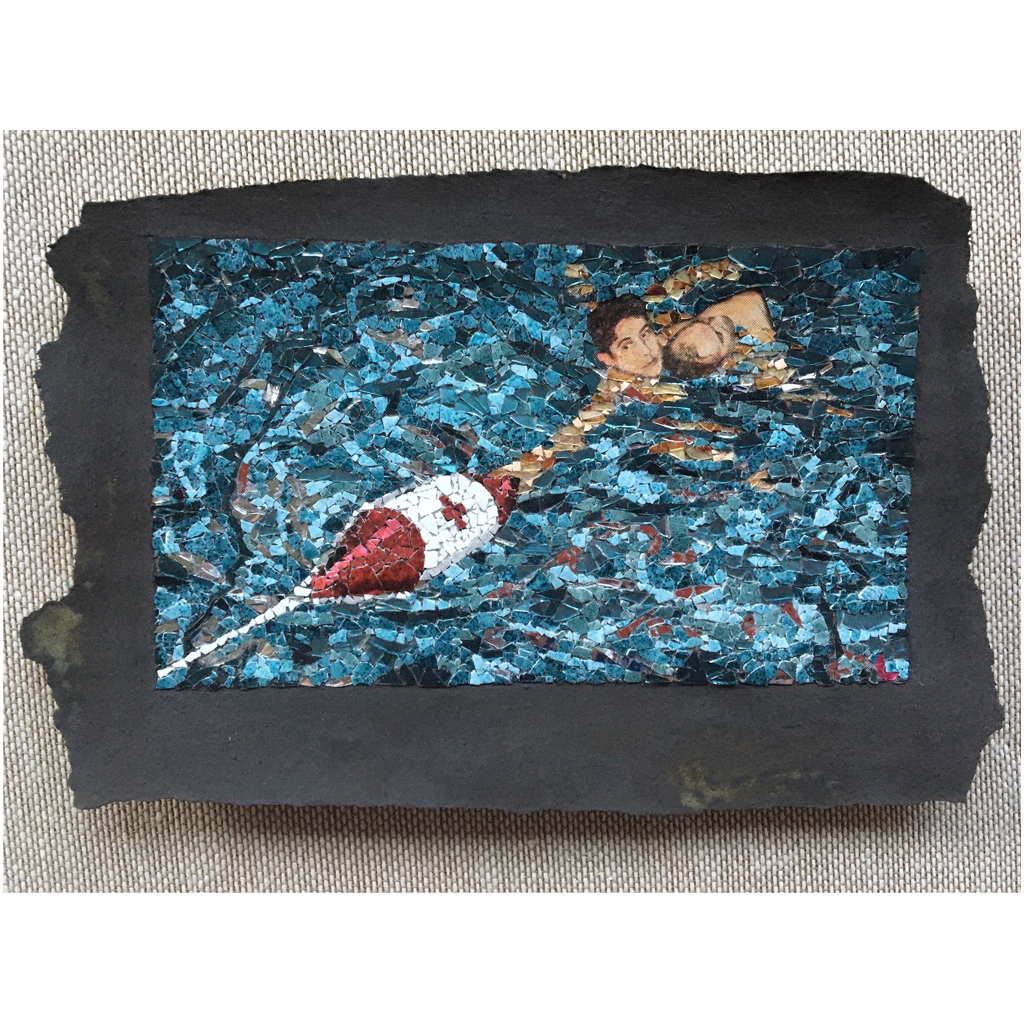 Matt Lazure  -  Fig125  -  Broken glass, eggshell, and oxidized iron paint on found image  -  NFS