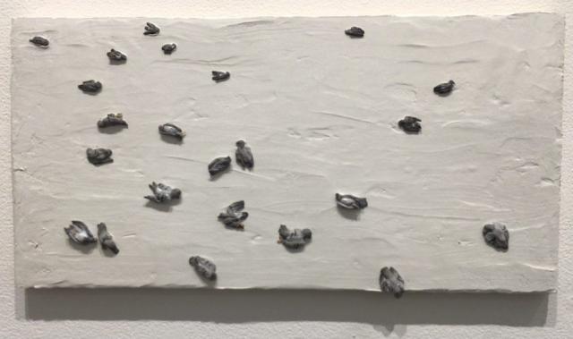 Ann Hirsch  -  Extinction Event  -  Memorial to Harry the Pigeon  -  resin & Das  -  12 x 24  -  NFS