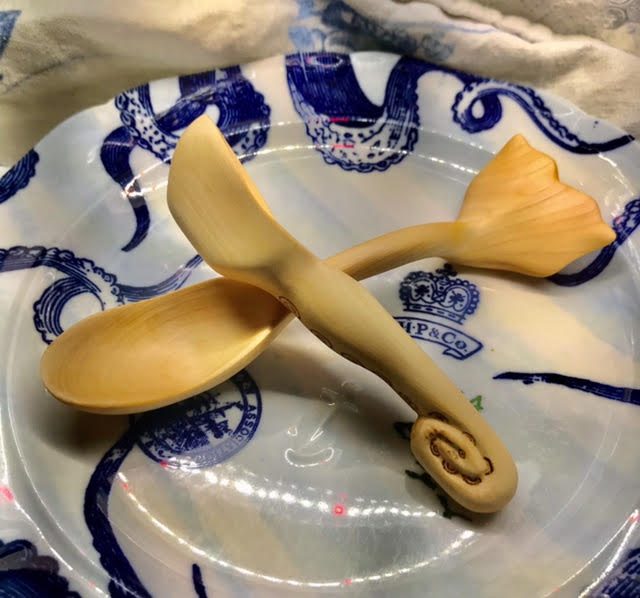 Bethany Ericson  -  2 Handcarved Spoons, Chowder Tail, basswood, Tentacle Coffee Scoop, lilac  -  5 x 1.5  -  NFS