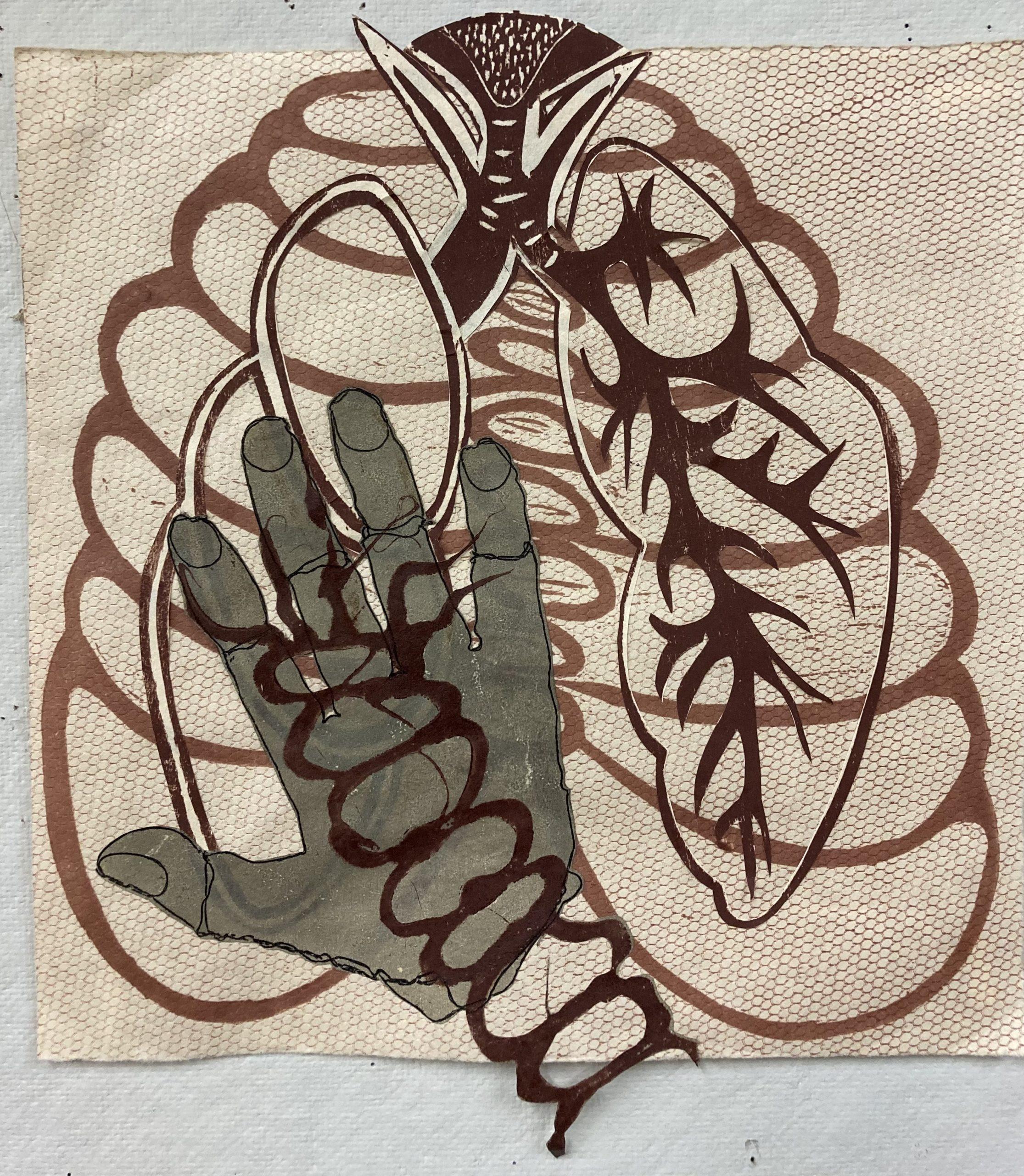 Debra Olin  -  Don't Touch  -   monoprint collage  -  woodcut  -  6 x 16  -  $400