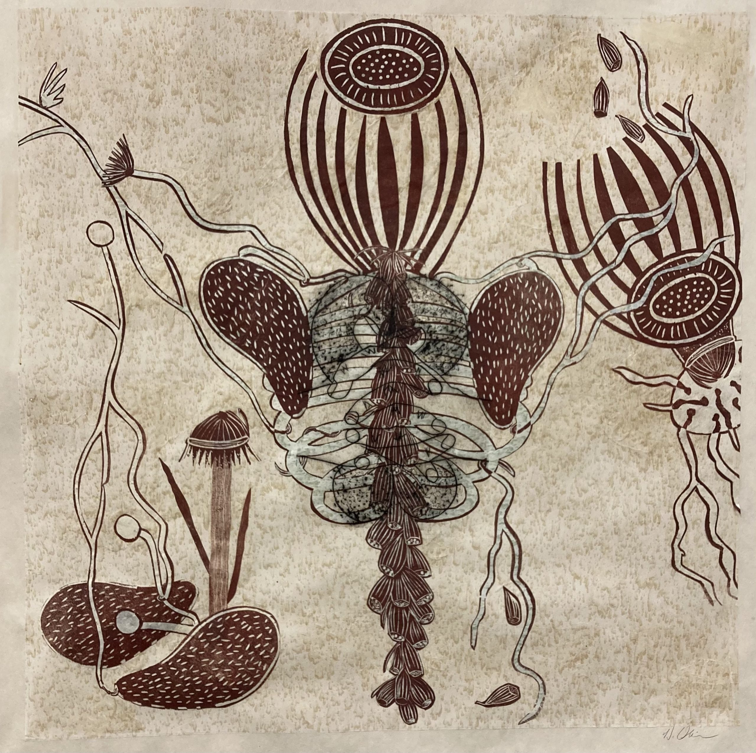 Debra Olin  -  Tight Squeeze  -  monoprint collage/woodcut  -  33 x 33  -  $900