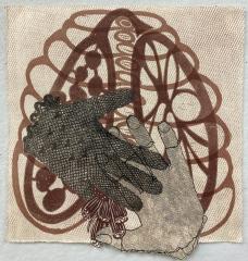 Debra Olin,  Don't Touch  -  monoprint collage/woodcut  -  16 x 16  -  $400