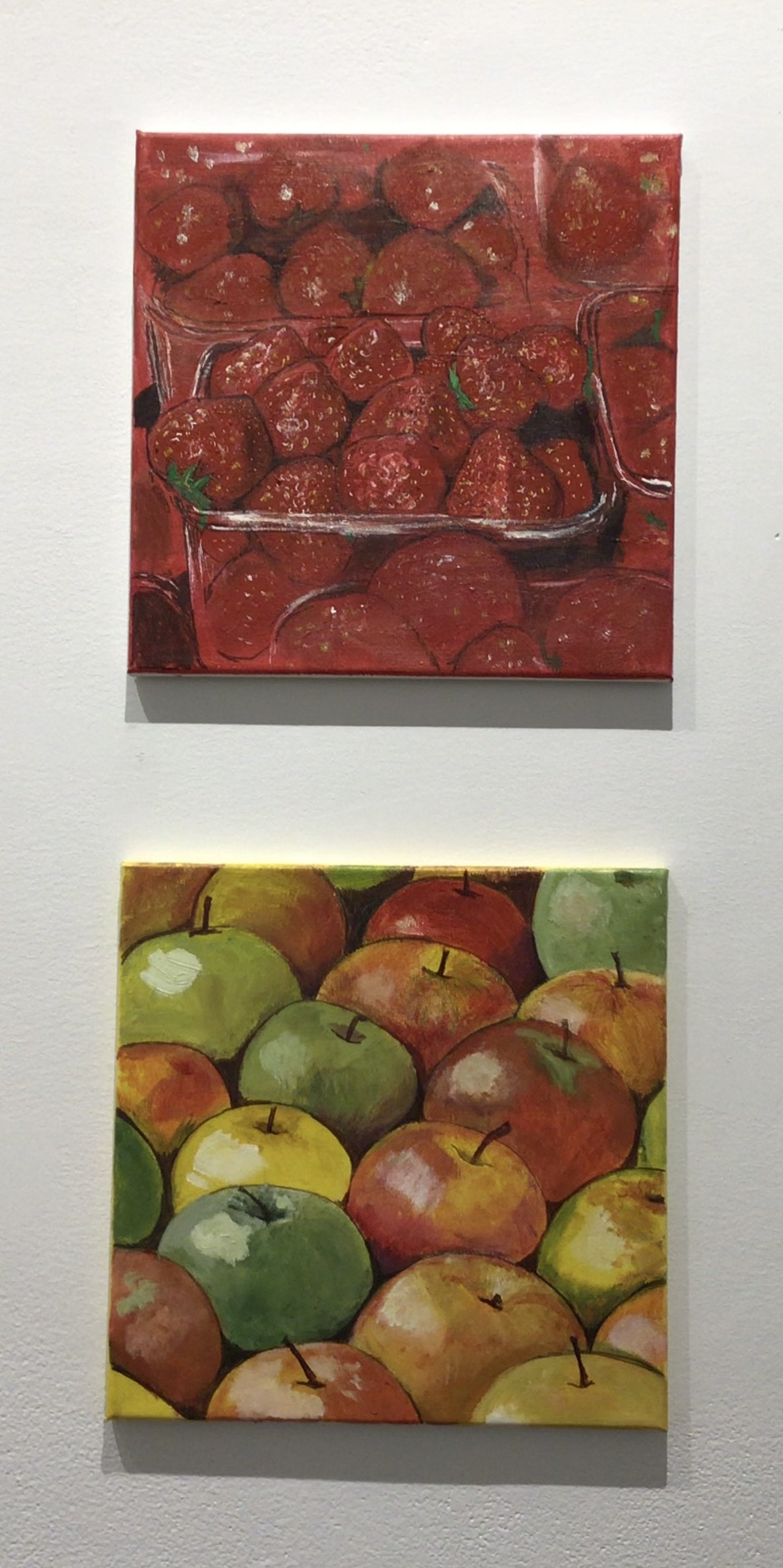 essie Bennett  -  Fraises  -  acrylic on canvas  -  12 x 12  -  $200  Apples  -  acrylic on canvas  -  12 x 12  -  $200.