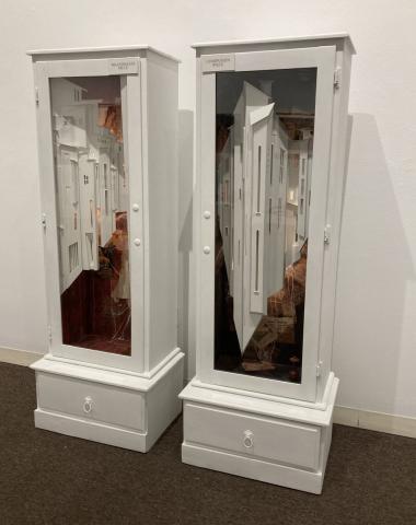 M.L. Van Nice  -  Meaningless Piece & Companion Piece  -  mixed media  -  66 x 24 x 15.75  -  $2500  each