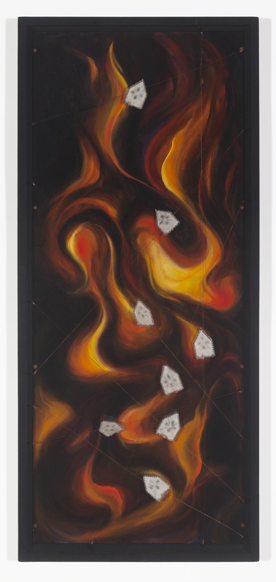 Rachel Mello  -  Fire Season  -  copper wire, solder, paper, thread, oil paint, hardboard  -  30.5 x 13.5 x 2  -  $1600