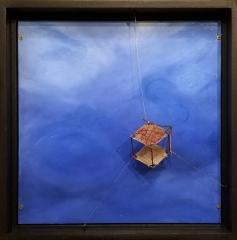Rachel Mello  -  Lost at Sea  -  copper wire, solder, paper, thread, oil paint, hardboard  -  13.5 x 13.5  -  $800