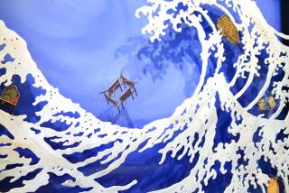Rachel Mello  -  Tsunami(detail)  -  copper wire, solder, paper, thread, oil paint, hardboard  -  30.5 x 30.5