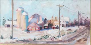 Susan Livada  -  Grand Isle Farm, Snow  -  oil on canvas  -  12 x 24  -  $900
