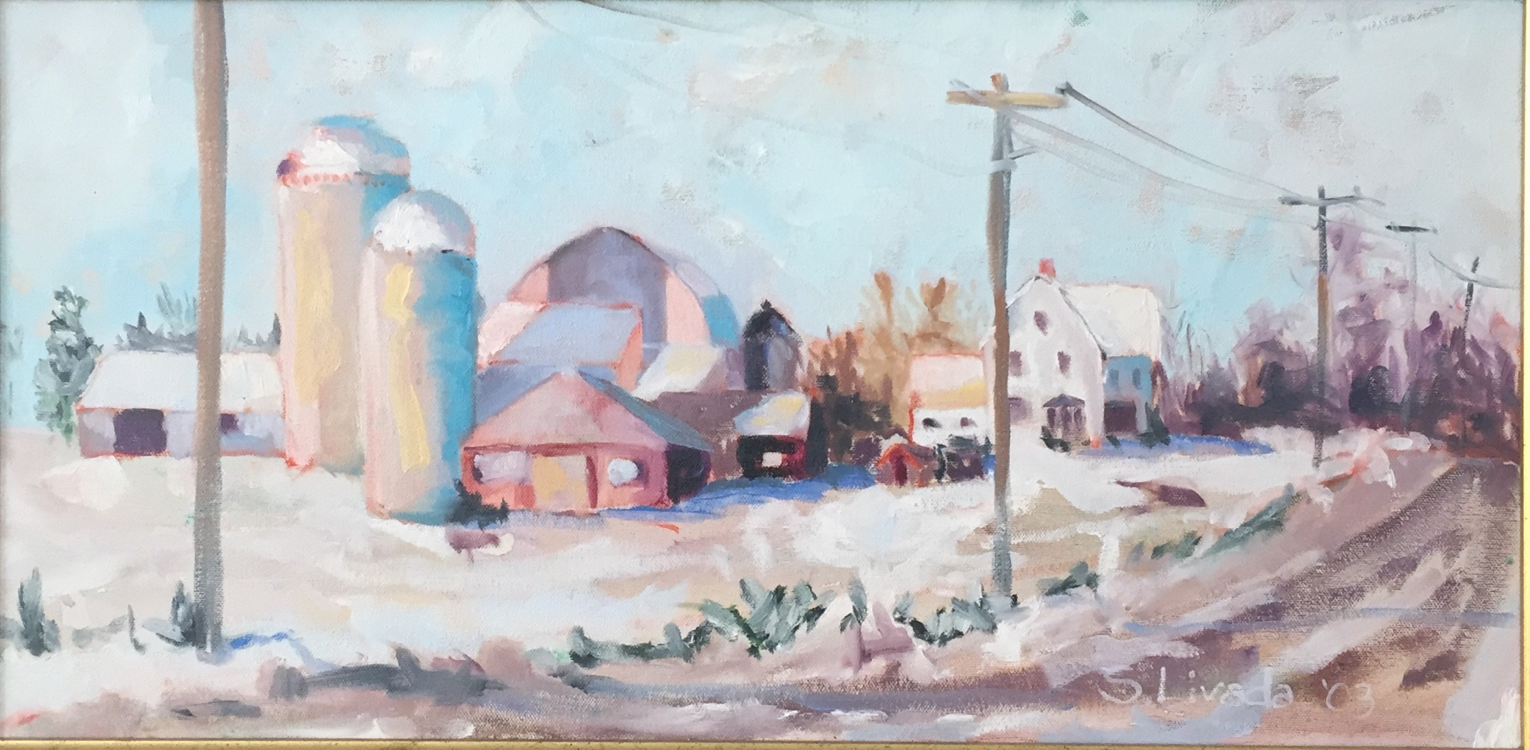 Susan Livada  -  Grand Isle Farm, Snow  -  oil on canvas  -  12 x 24  -  $900