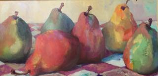 Susan Livada  -  Six Pears  -  oil on canvas  -  24 x 48  -  $2400