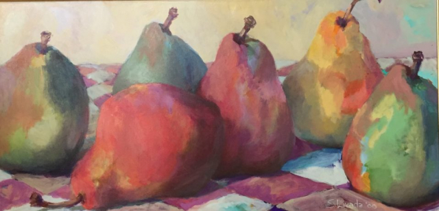 Susan Livada  -  Six Pears  -  oil on canvas  -  24 x 48  -  $2400
