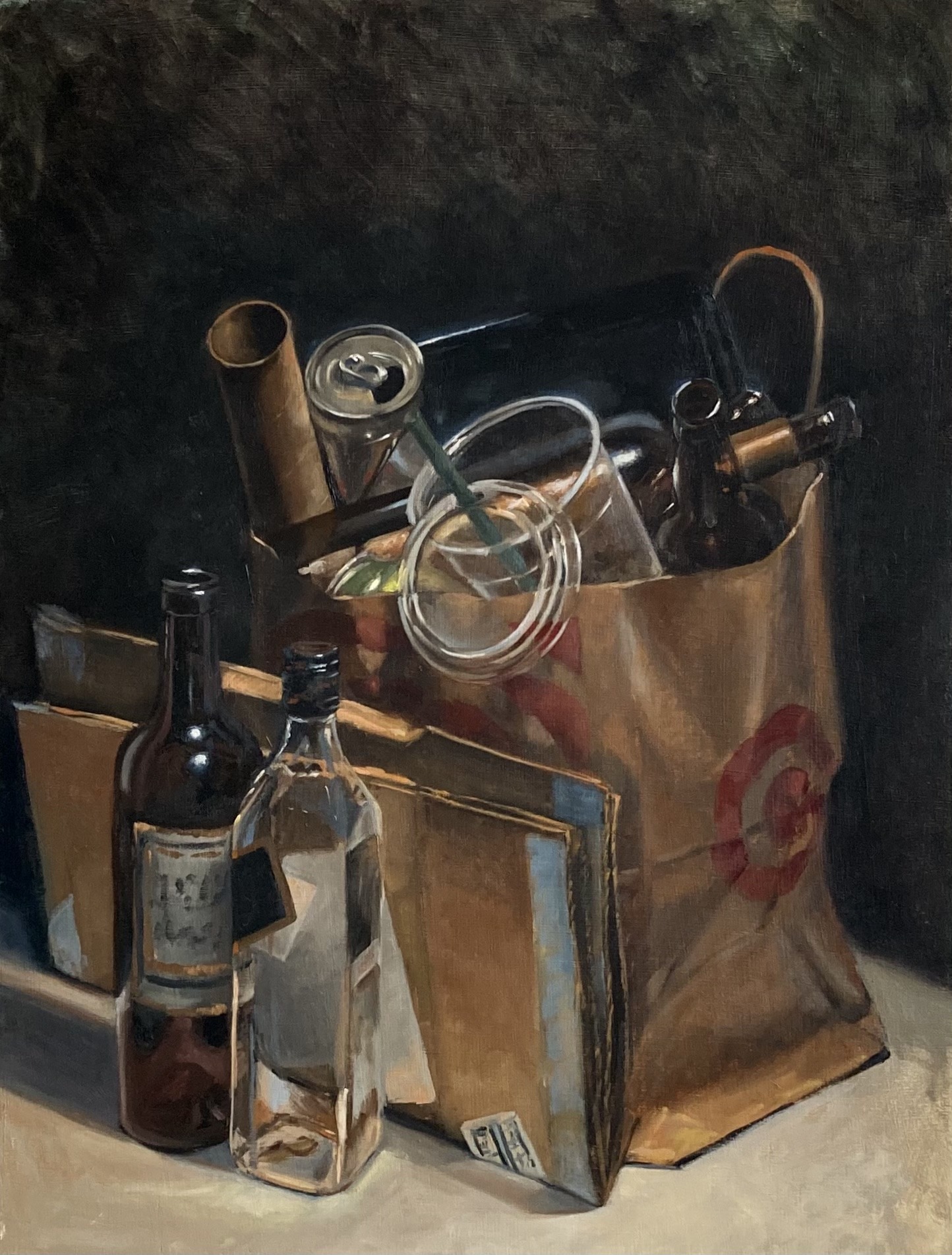 Adam Leveille  -  Recycling  -  oil on wood  -  24 x 18  -  $1800.00