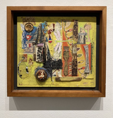 Arnon Vered  -  Vision Quest  -  mixed media collage  -  14 x 15  -  $1500.00