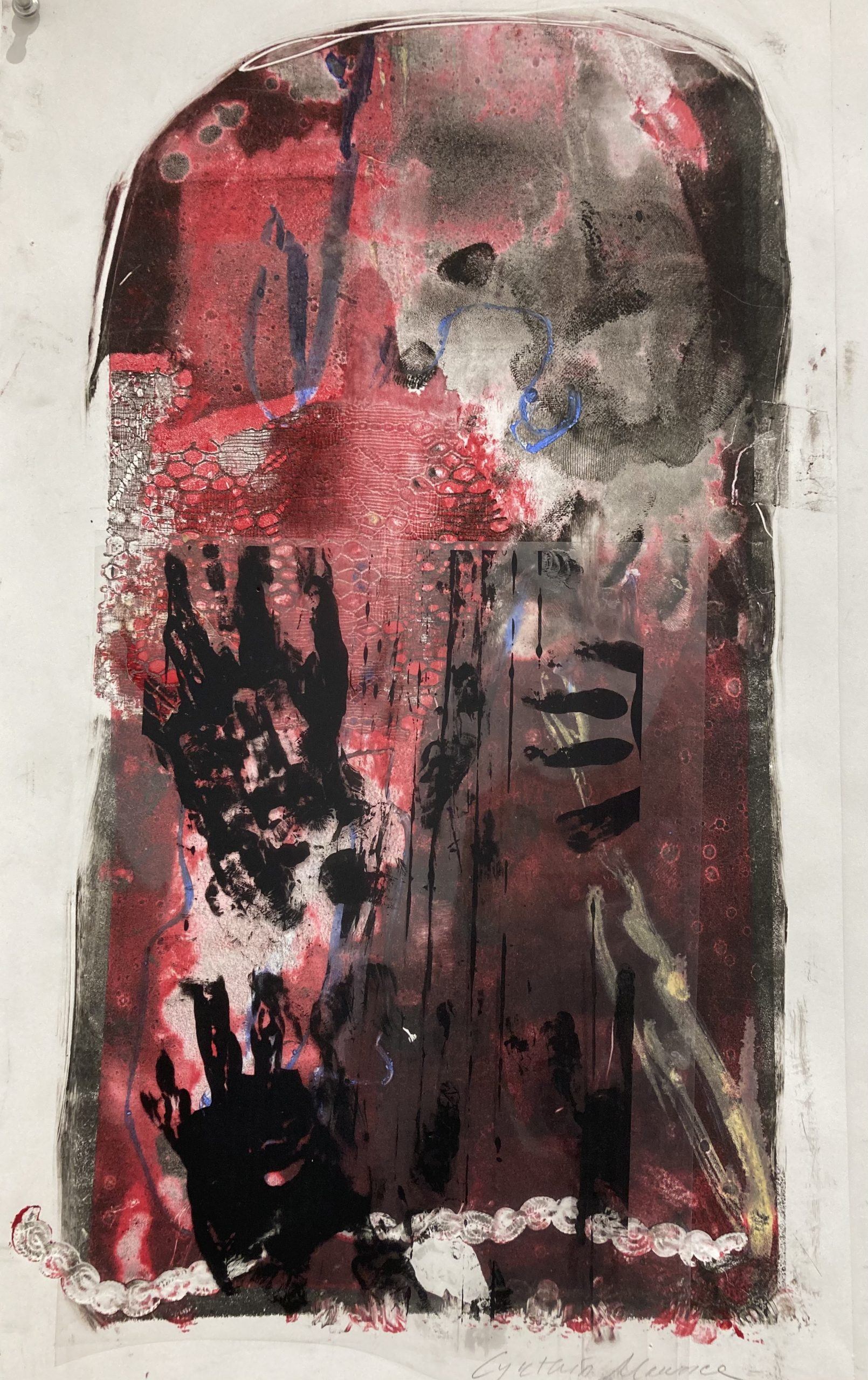 Cynthia Maurice  -  Yikes, No Flame  -  mixed media/ paint, lithograph  -  21 x 15  -  $350.00