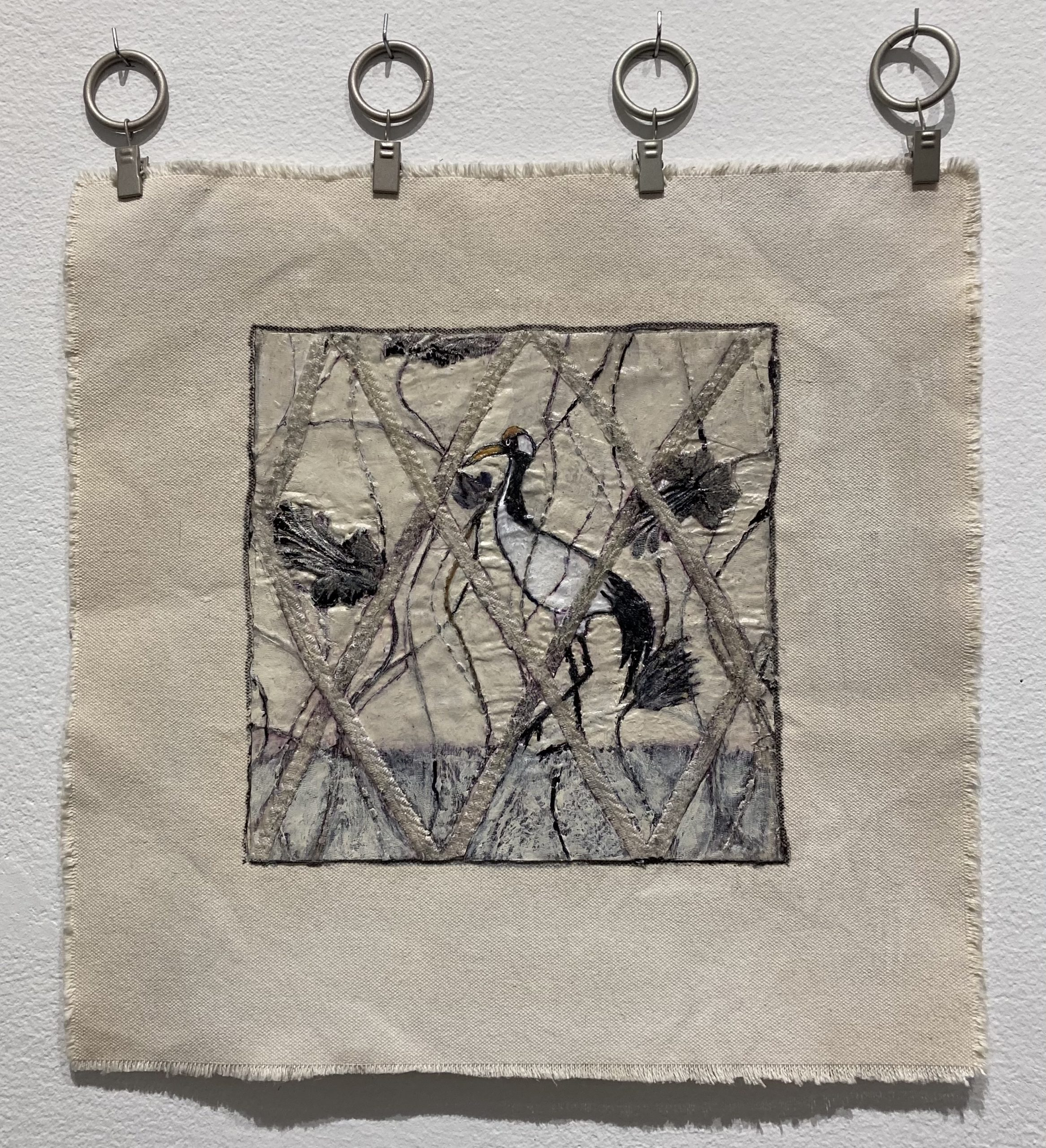 Chris Mesarch  -  Crane in Garden  -  fabric, canvas, paint, gesso  -  13.5 x 13.5  -  $250.00
