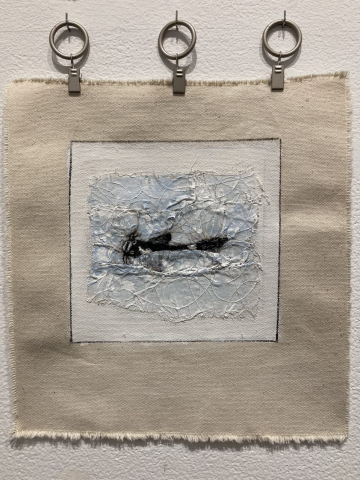 Chris Mesarch  -  Carp in Water  -  fabric, thread, canvas, paint  -  12 x 11  -  $225.00