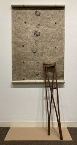 Debra Olin  -  Practicing with Crutches  -  monoprint, found crutches  -  84 x 39 x 15.5 (variable)  -  $1000.00