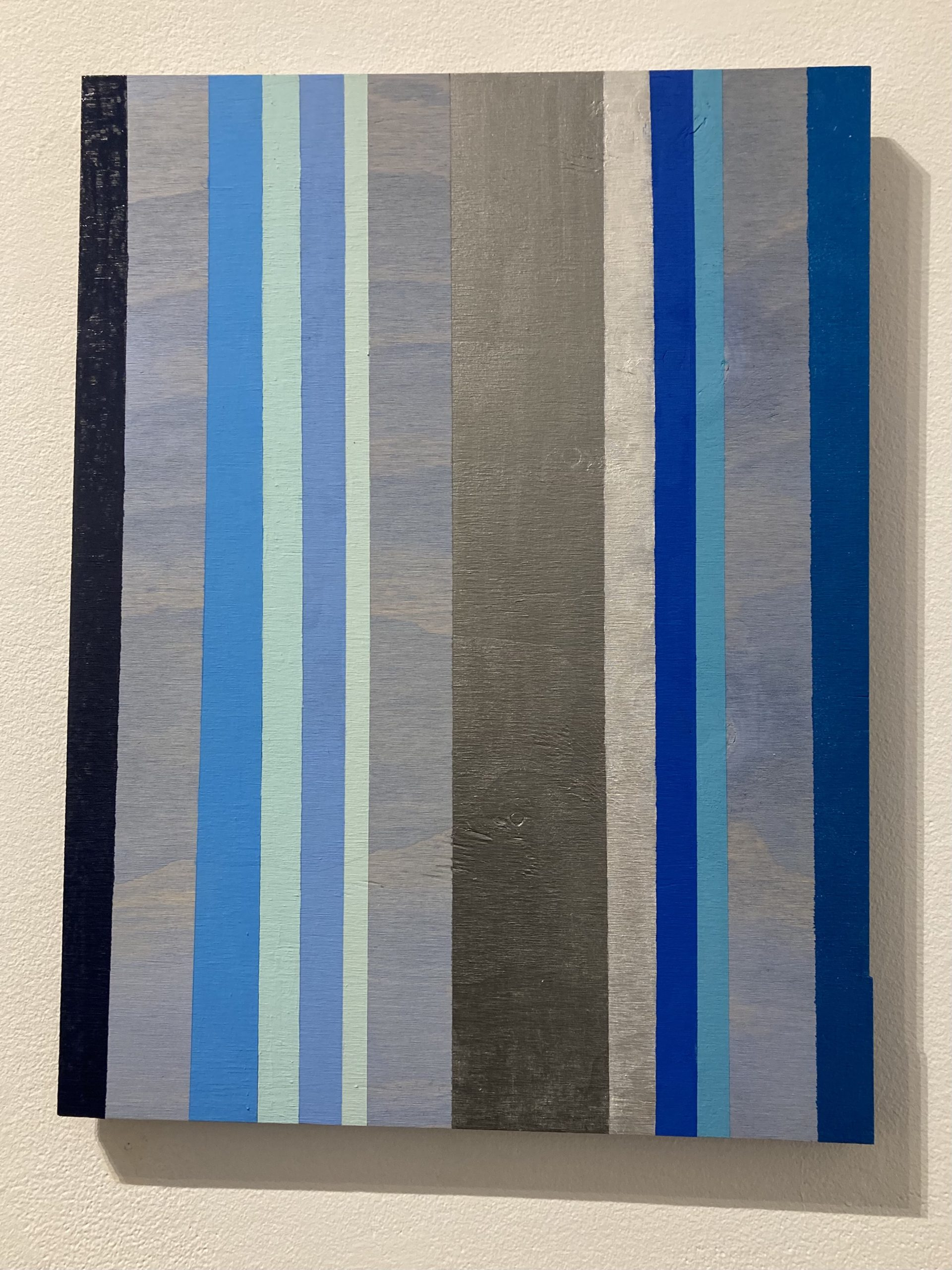 Elizabeth Goodnow  -  Be Blue   -  reconstituted board & old latex paint  -  24 x 18  -  $500.00