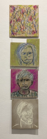 Lois Fiore  -  Recovered Cardboard Made Images  -  pastel on cardboard  -  50 x 12  -  $80.00