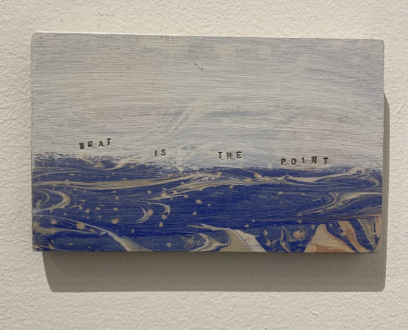 Melinda Cross  -  Lost at Sea  -  marbling & gesso on salvaged wood  -  4 x 8  -  $50.00