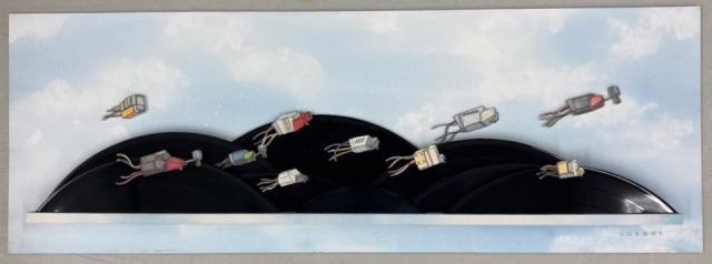 Mark Luiggi     Phono Cartridges Running the Recording Rapids  -  watercolor, pen & ink, vinyl records  -  10 x 27 x 2  -  $800.00