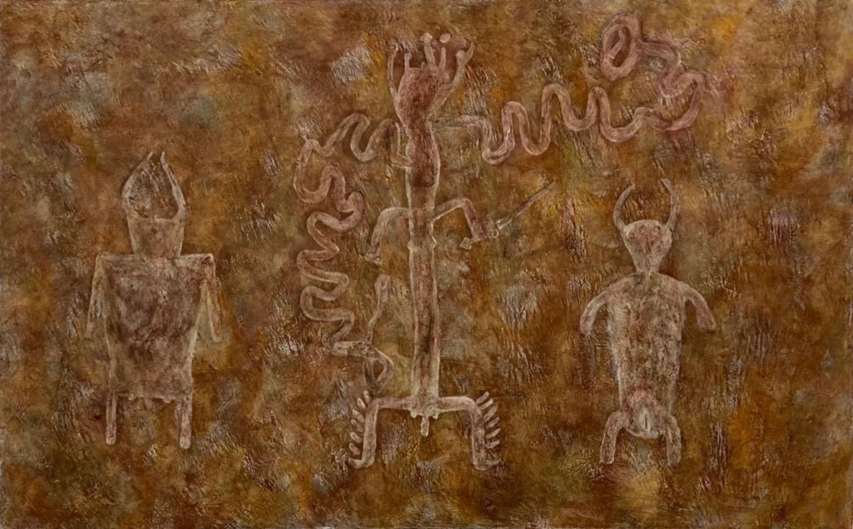 Mark DesLauriers  -  Miller River Basin Petroglyph, Early Brickbottom Civilization  -  acrylic on canvas  -  $900.00