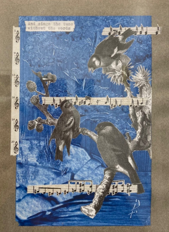 Jen Fries  -  Sometimes the Neighbors are Up All Night  -  collage & acrylic  -  $150.00