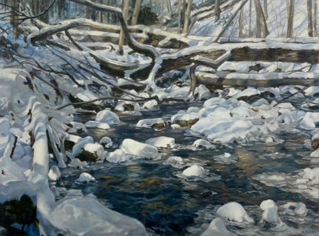 Nancy Ruch Kim  -  Winter Stream  -  oil on canvas  -  $4200.00