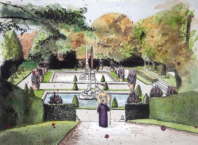 Pauline Lim  -  Saint in the Garden  -  acrylic, watercolor, pen & ink, paper  -  $350.00