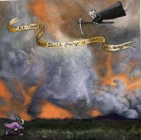 Pauline Lim  -  The Tooth-head Death Fairy is Never  -  Far Away  -  acrylic on gallery-wrap canvas  -  $700.00