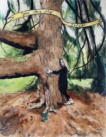 Pauline Lim  -  You are My Refuge  -  watercolor, collage, ink, paper  -  $350.00