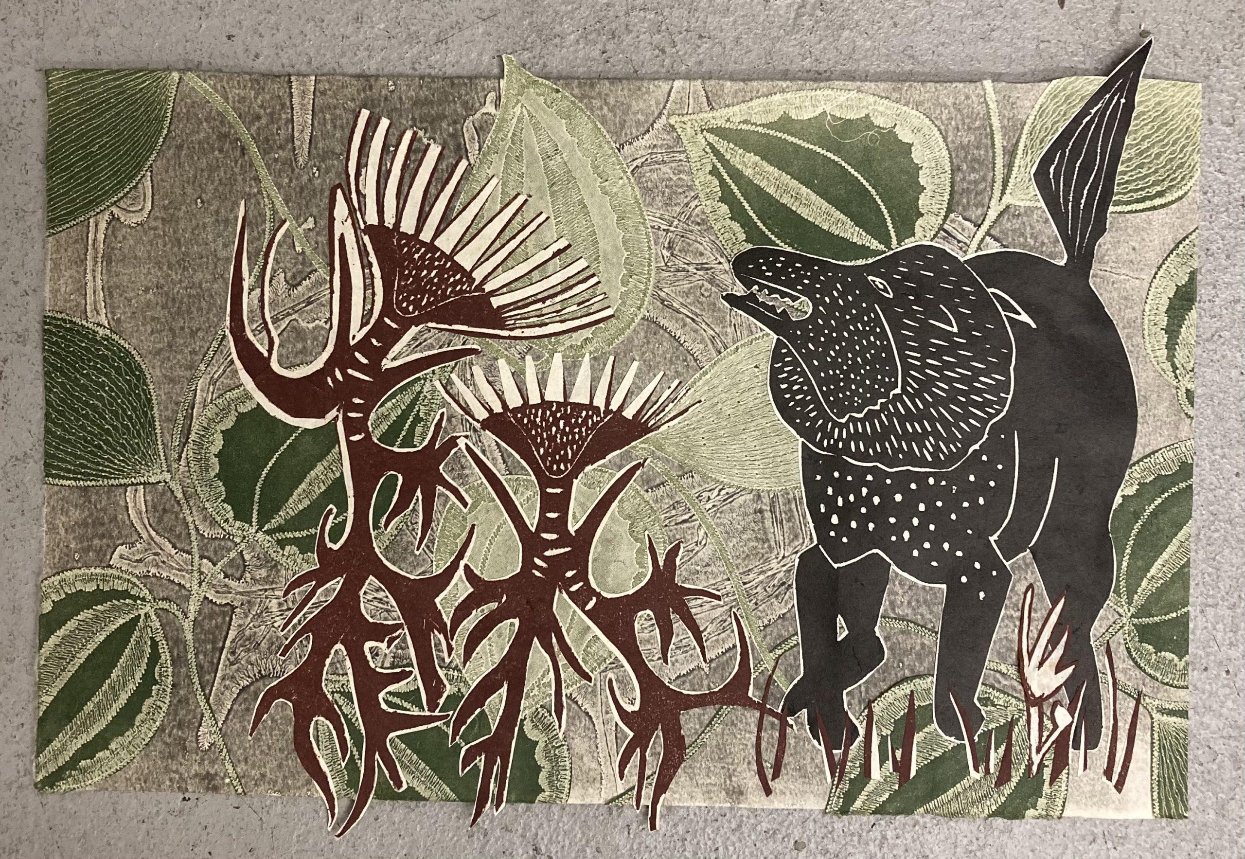 Debra Olin  -  In Garden  -  monoprint, woodcut, collage  -  NFS