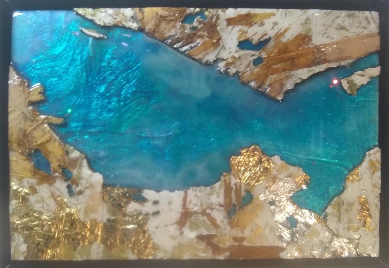 Daniel Rocha  -  The Straits  -  wood, silver leaf pigment, resin  -  $250.00