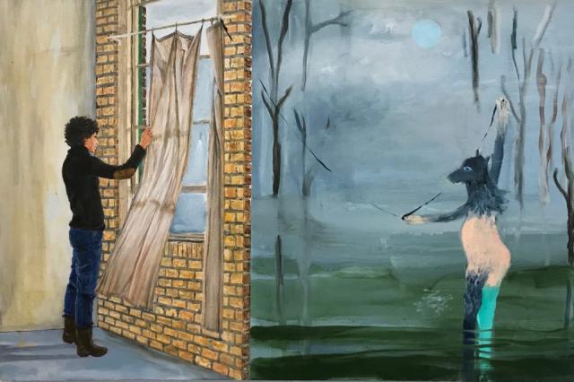 Alexandra Rozenman  -  Two Worlds  -  acrylic, oil & sadness  -  $1500.00