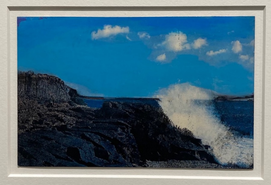Ellen Young  -  Along the Maine Coast  -  pastel & spray paint on postcard  -  $300.00