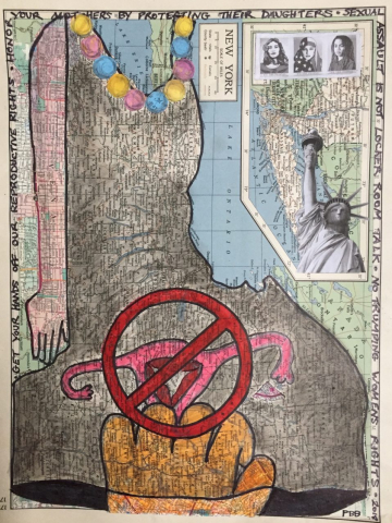 Pamela Bower-Basso  -  Mapping the Resistance #1  -  Mixed Media  -  14x10.5
