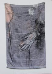 "Jeanne Ciravolo  -  Denial II  -  Mixed Media & stitching on kitchen towel  -  25""x16"""